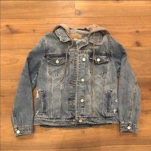 Nordstrom Distressed Hooded Denim Jacket